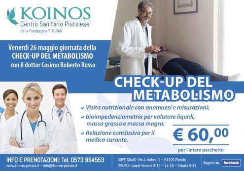 La giornata del 26 maggio a Pistoia sarà dedicata al check–up del metabolismo, con visita specialistica e bioimpedenziometria effettuate dal dottor Cosimo Roberto Russo. L'importante iniziativa è promossa dalla Fondazione Turati attraverso il Centro Sanitario Koinos.